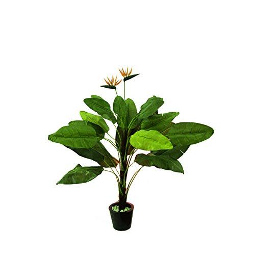 artplants – Künstliche Strelitzie mit 22 Blättern, 2 Blüten, 230 cm – Paradiesvogel Pflanze/Deko Blumen