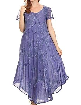 Sakkas Sayli Lungo Tie Dye del manicotto della protezione ricamato collo largo caftano Dress / Cover Up