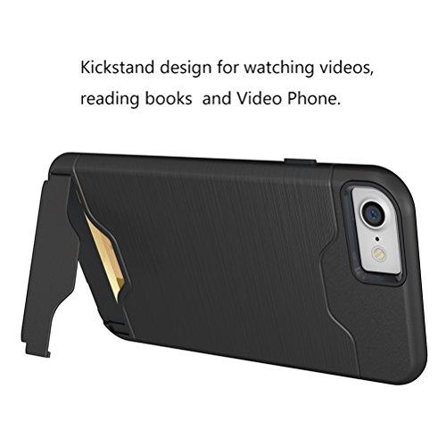 Cover iphone 7, Bestsky Silicone e Plastica Duro Rugged Armor Case per schede Card Slot Supporto KickStand Portafoglio Bumper Protezione Custodia per iPhone 7 Black