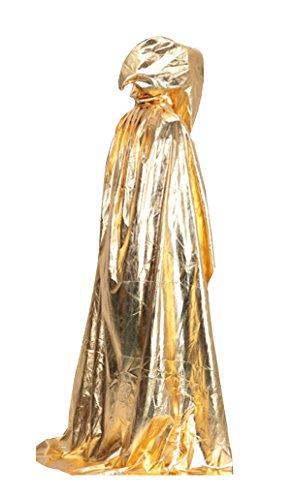 Goldenes Kostüm (Halloween Umhang Cape Mit Kapuze (Lusypy) Für Karneval Fasching Cosplay Für Erwachsene)