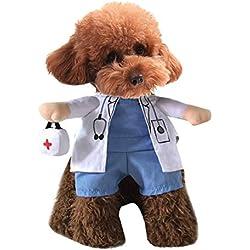 Xiaoyu Welpe Hund Katze Halloween Kostüm, Doktor Stil Kostüm, Arzt Mantel Medizin Box für Hund Katze Cosplay Party, M