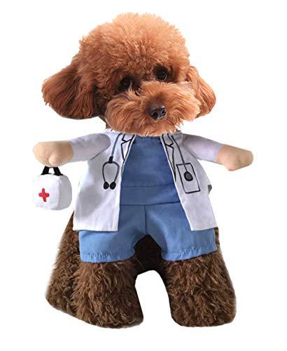 Xiaoyu Welpe Hund Katze Halloween Kostüm, Doktor Stil Kostüm, Arzt Mantel Medizin Box für Hund Katze Cosplay Party, L