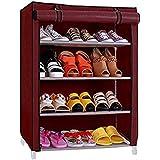 LookNSnap Premium Shoe Rack/Multipurpose Storage Rack with Dustproof Cover (4 Shelves, Maroon)