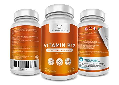 41TT%2BCyuATL - Vitamina B12 Metilcobalamina 1000mcg 365 Tabletas (Suministro para 12 Meses) | Reducción del cansancio y la fatiga y normalización de la función del sistema inmunológico