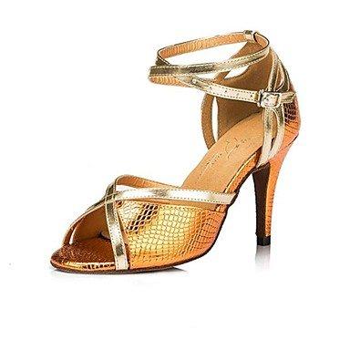 Silence @ Chaussures de danse pour femme Samba en similicuir Stiletto Talon Violet/bleu/jaune jaune