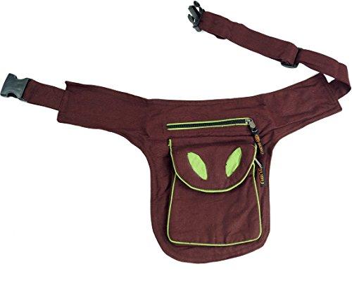 Materiale Guru-shop Sidebag & Sacchetto, Goa Marsupio - Benzina, Uomini / Donne, Il Cotone, 28x20 Cm, Le Pinze Del Festival Hippie Marrone