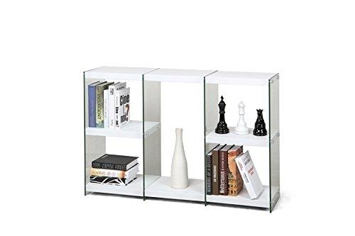 Cod.00772604 - Madia libreria Pocket in bianco lucido e vetro
