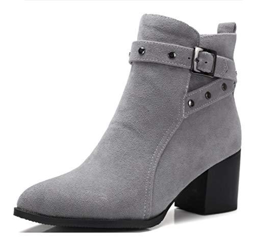 SHANGWU Damen Damen Stiefeletten Mid Block Ferse Schnürschuhe Block Chunky Heels Stiefel Kurze Stiefel Größe (Farbe : Grau, Größe : 35) (Grau Kurze Stiefel Uggs)