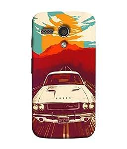 PrintVisa Designer Back Case Cover for Motorola Moto G :: Motorola Moto G (1st Gen) :: Motorola Moto G Dual (Cool Vintage Car In White)