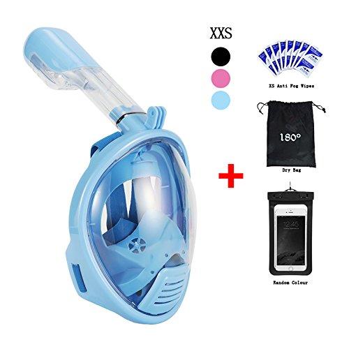 Schnorchelmaske für Erwachsene Und Kinder Vaporcombo Anti Nebel 180 Grad Blickfeld Gopro Kamera Halterung Faltbar Schnorchel Maske Tauchmaske Vollgesichtsmaske Blau, XS