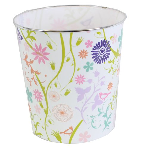 JVL Plastic Modern Stripes/Spots/Circles Retro Flower Trailing Flower Waste Paper Bin Basket, Multi-Colour by JVL