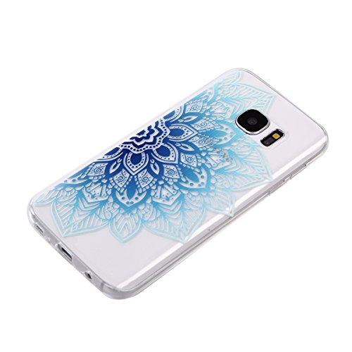 Qiaogle Telefon Case - Weiche TPU Case Silikon Schutzhülle Cover für Apple iPhone 7 (4.7 Zoll) - DD04 / Grün Blume DD14 / Half Corner Blau Blume