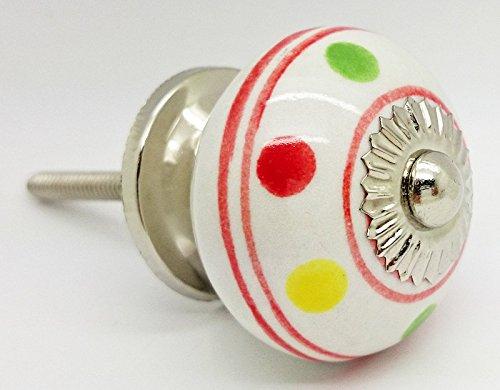 Multicolore à pois rayé Poignée de porte en céramique vintage shabby chic Placard Tiroir Poignée de traction