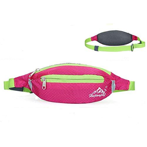 Taille Gürtel Taschen, wasserdicht Oxford Fanny Pack Light Gewicht Double Zip Beutel für Running Radfahren Wandern Camping Klettern Reisen rosarot