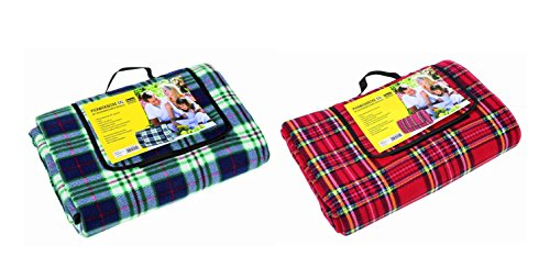2x Idena Picknickdecke XXL / Größe: ca.170x200cm / Farbe: je 1x blau + rot