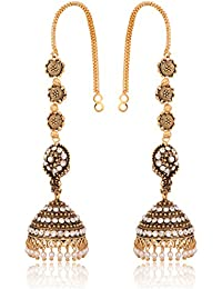 Reeti Fashions Indian Traditional Bollywood Jhumki Earrings With White Stones Full Ear Cover For Women (RF18_8B...
