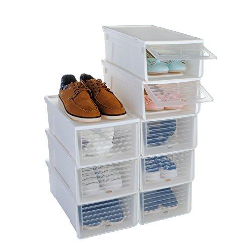 Schuh Box, funime stapelbar Schuh-Aufbewahrungsbox organiser-for Damen und men-slide leicht öffnen und close-set von 8–33cmx24cmx14cm-white