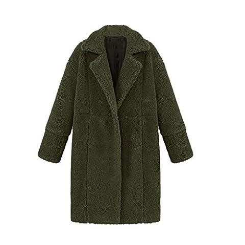 Vovotrade Nouvelle Veste en Laine Mélangée Ladies Manteau Femmes Manteau Long Oversize plus Tailles (Size:M, Armée verte)