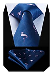 Idea Regalo - Hisdern Animal Patterns Party Wedding Tie Fazzoletto da uomo Cravatta da uomo e fazzoletto da taschino