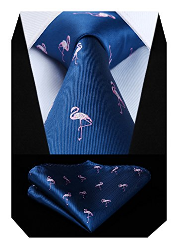 Hisdern Animal Patterns Party Wedding Tie Fazzoletto da uomo Cravatta da uomo e fazzoletto da taschino