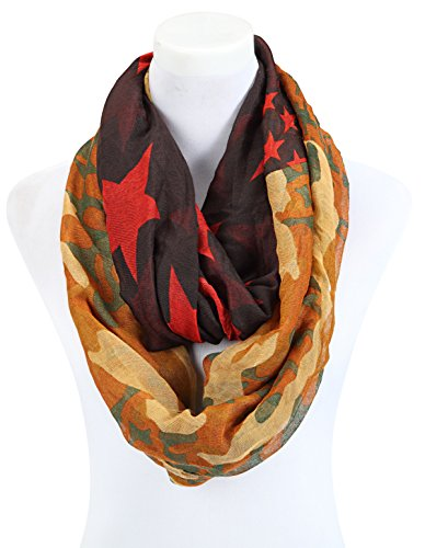 Tuch im Loop-Schal-Stil - schön groß im Camouflage- Stern- Leopardenmix -schönes Herbst-Accessoires (braun)