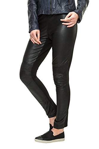 Freaky Nation Damen Lederleggings Biker-Look Black