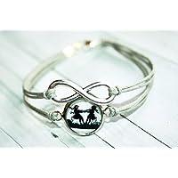 Infinity Freundschafts Scherenschnitt Wachsarmband grau/silber, Schwestern ,16-17cm, handmade, ein süßes Geschenk für die beste Freundin oder liebste Schwester