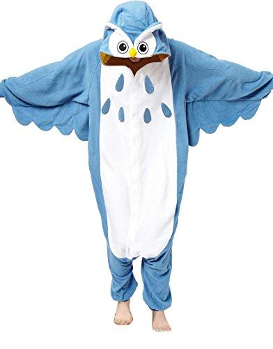 Anbelarui Tier Skelett Pinguin Dinosaurier Panda Einhorn Kostüm Damen Herren Pyjama Jumpsuit Nachtwäsche Halloween Karneval Fasching Cosplay Kleidung S/M/L/XL (XL, - Eule Kostüm Für Erwachsene