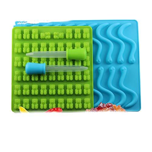 50 stampi in silicone a forma di orsetto gommoso, per cioccolatini, caramelle, gelatine, vermi di serpente, vaschetta per il ghiaccio, silicone, a, taglia unica