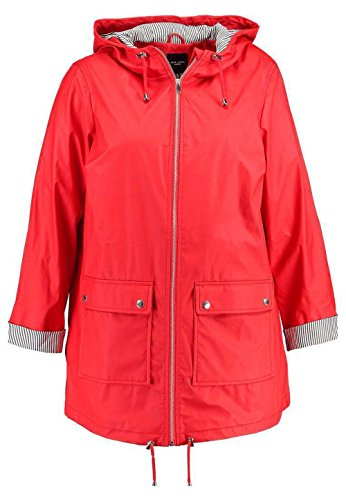 Ex New Look Curves - Women's Water Proof Rain Mac Jacket, Red, Plus Size