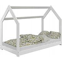 Preisvergleich für LDM Möbel Bett für Kinder Kinderbett Holzbett Kinderhaus Bettrahmen Matratze Hausbett Kiefernholz Vollholz Massivholz Schlafzimmer Weiß mit Matratze mit Lattenrost 80x160 cm