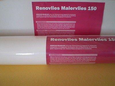 Renoviervlies 150 g Malervlies Anstrich-Vlies glatte überstreichbare Vliestapete weiß   18,75 qm 25 Meter Rolle