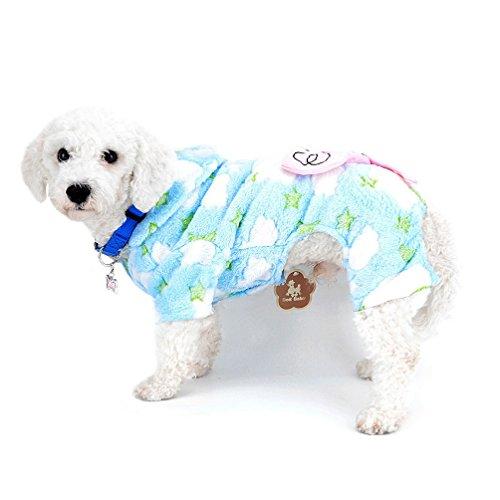 Samt Mantel Mit Kapuze Overall Pyjamas Mäntel Elefanten Winter Haustier Hund Yorkie Chihuahua Kleidung Outfits Bekleidung Blau S (Chihuahua Elefant Kostüm)