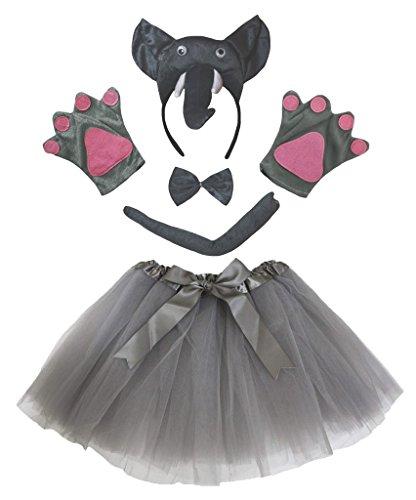 Petitebelle 3D Elefant Stirnband Bowtie Schwanz Handschuhe Tutu 5pc Mädchen-Kostüm Einheitsgröße Grau
