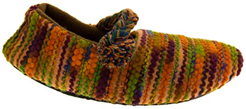 Kumfipumps Donna Multicolore Ballerina Pantofole a Maglia Marrone