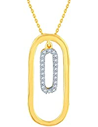 Silvernshine 1/10 Ct Diamond 14k Yellow Gold Fn .925 Open Double Oval Drop Pendant Necklace