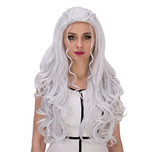 amback lang gelockt Braid Styling Cosplay Perücke silber für Daenerys Targaryen Khaleesi