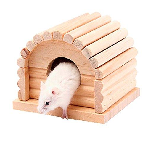 WDILO Hamster - Caseta de madera personalizada, especialmente diseñada para mascotas cómodas y seguras, se puede desmontar 10 cm x 10,8 cm x 8 cm