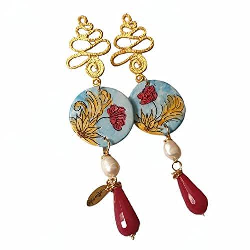 orecchini siciliani, gioielli sicilia, orecchini ceramica, orecchini agata, perle di fiume, bellissimi, pezzo unico, ceramica caltagirone