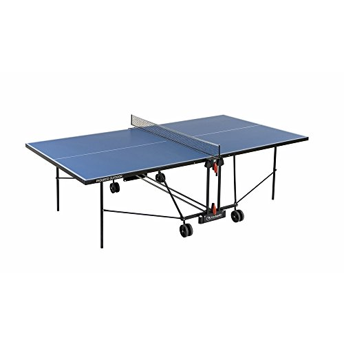 Garlando Tavolo da Ping Pong Progress Outdoor con Ruote per Esterno Blu