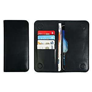 Emartbuy® PU Leather Magnetic Slim Wallet Case Cover Sleeve for Huawei Mate SE (Size LM4_Black Plain)