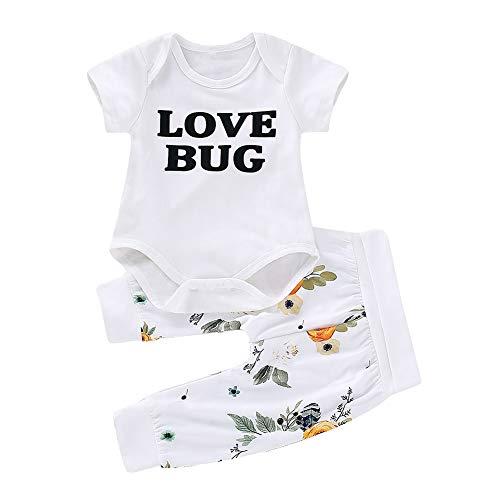 Shiningbaby Baby Mädchen Outfit Love Bug Kurzarm Strampler Top und Hose 2 Stück Kleidung Set