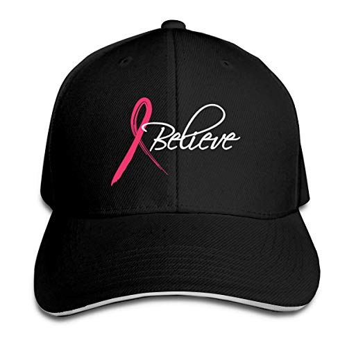 Believe Pink Ribbon 8 Sandwich Baseball Caps Unisex Trucker Style Hats