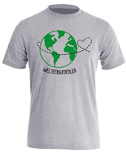 Weltenbummler - Perfekt für Ihren Urlaub - Herren Rundhals T-Shirt Grau/Schwarz-gruen