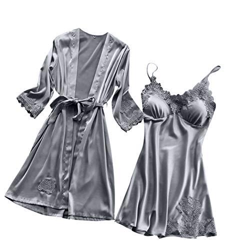 Proumy Frauen Plus Size Nachtwäsche Dame Lingerie Silk Lace Robe Kleid Babydoll Nachthemd Kimono ()