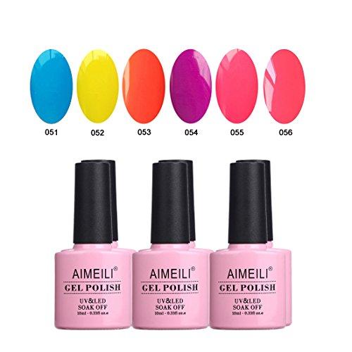 AIMEILI UV LED Gellack mehrfarbig ablösbarer Gel Nagellack Neon Gel Polish Set Kit - 6 x 10ml - Set Nummer 11