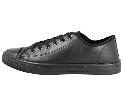 Mens Cambridge Low Top Canvas Toe Cap Lace Up Pumps Plimsoll All Star Trainers Casual Shoes Size 6-12 (UK 8, Black PU)