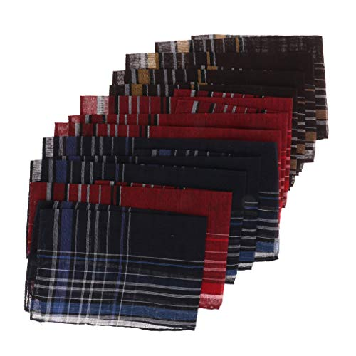 B Blesiya 12 Stücke Herren Weich Taschentuch Taschentücher Einstecktuch Stofftaschentücher aus Baumwolle (Farbe zufällig) -