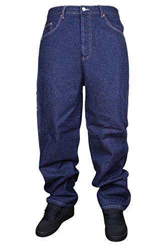 360Kleidung Threesixty Carpenter Loose Fit Skate Hip Hop Baggy Jeans Indigo Dunkelblau, Carpenter, Blau, 981031 Carpenter Baggy Jeans