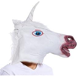 Careta Máscara de Unicornio de Vinilo para Cabeza Completa Disfraz Halloween Carnaval Tema Animal y Natural Accesorio para Disfraz
